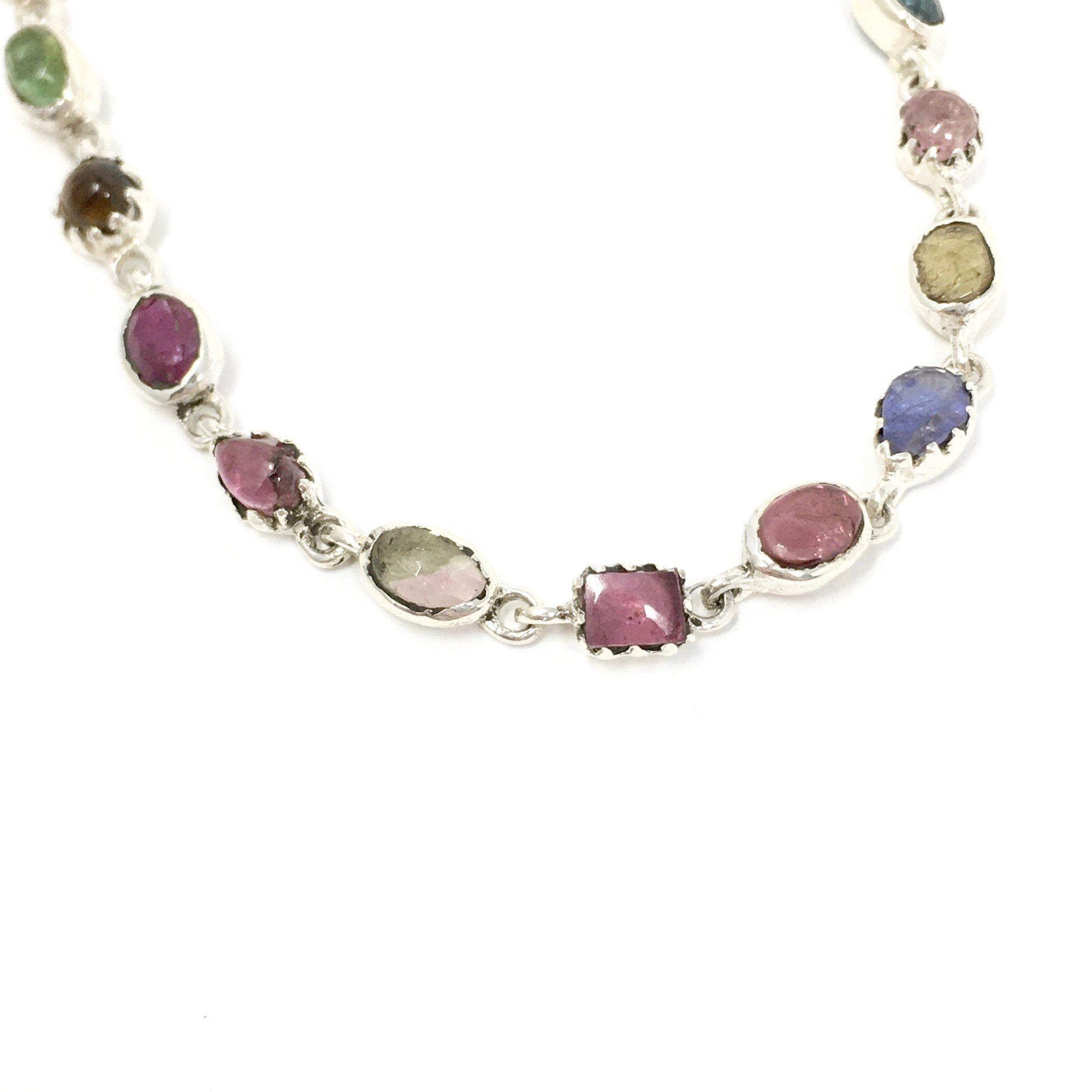 Multi Coloured Tourmaline and Sterling Silver Bracelet - Barnbury