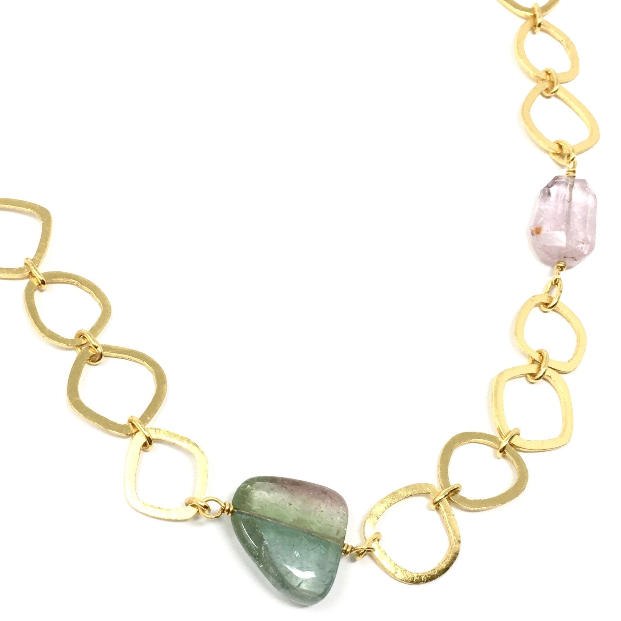 Free Form Link and Multi Coloured Tourmaline Chain - Barnbury