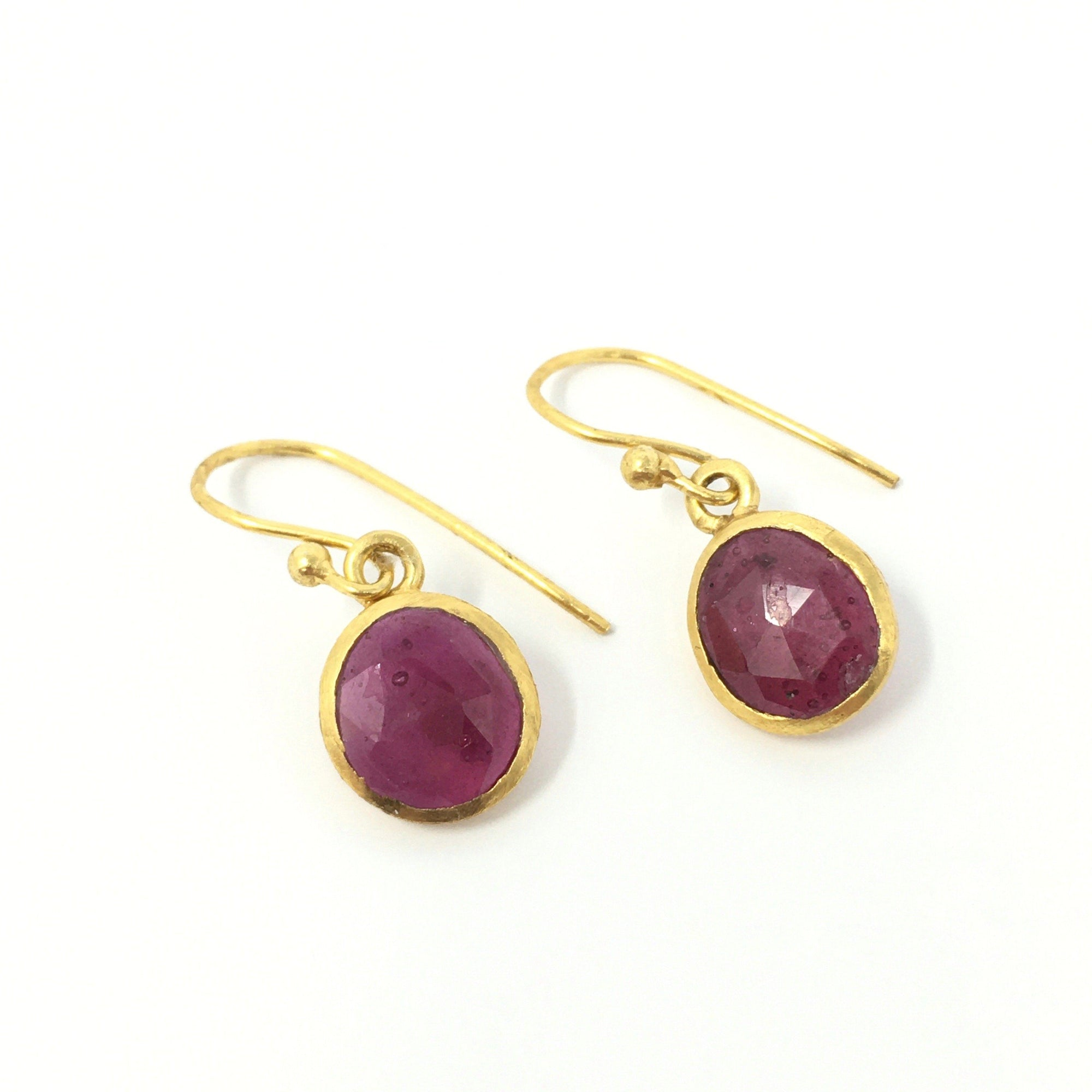 Ruby and Gold Ear Hooks - Barnbury