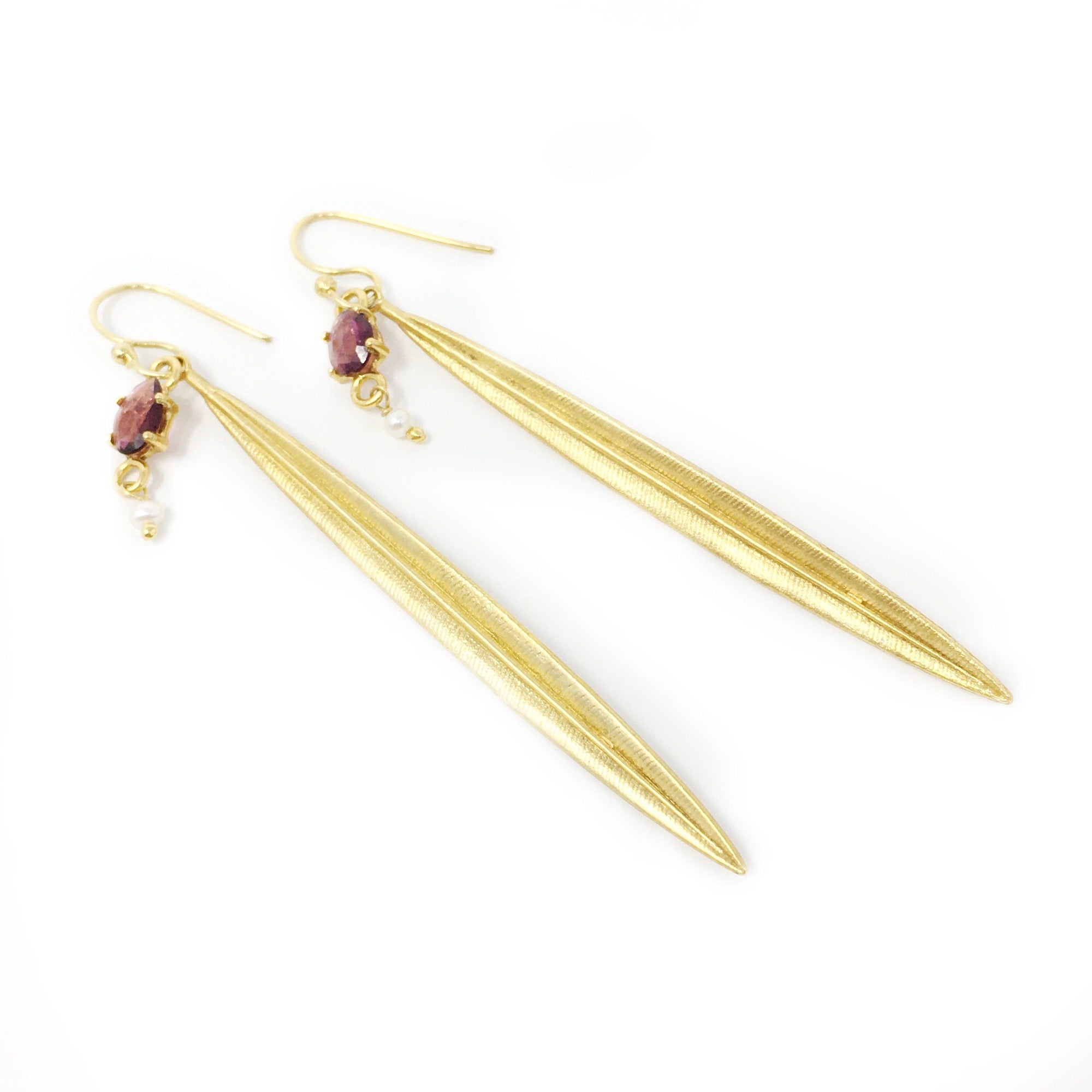 Pink Tourmaline, Pearl and Gold Earrings - Barnbury