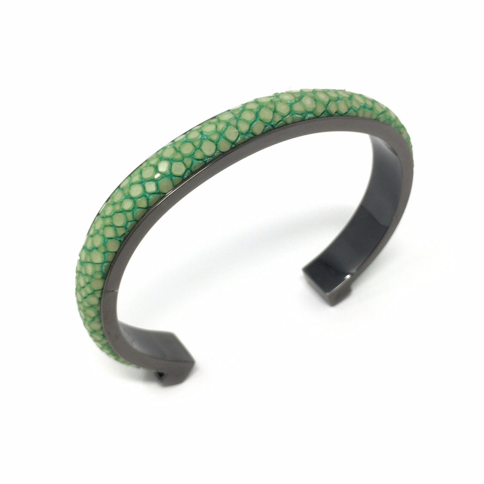 1cm Elisee Acid Green Real Shagreen Palladium Plus Bracelet - Barnbury