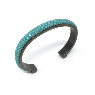 1cm Elisee Light Blue Real Shagreen Palladium Plus Bracelet - Barnbury