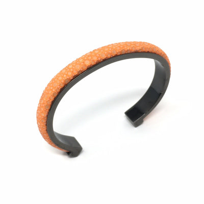 1cm Elisee Orange Real Shagreen Palladium Plus Bracelet - Barnbury
