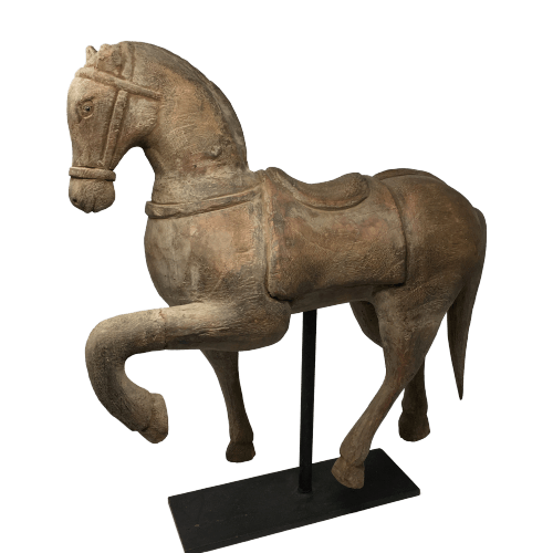 Hand Carved Elm Horse
