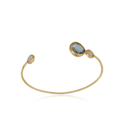 Gold Plated Sterling Silver cuff with blue topaz and moonstones - Barnbury
