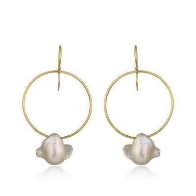 Gold plated sterling silver natural pearl ear hoops - Barnbury
