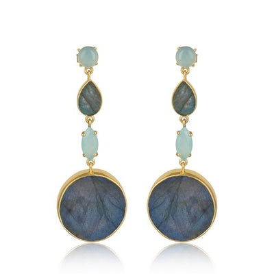 Gold Plated Sterling Silver Aqua Chalcedony and Labradorite Drop Earrings - Barnbury