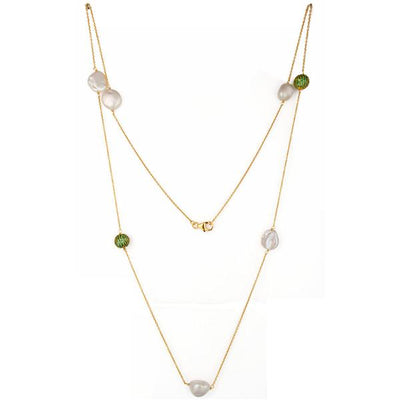 Gold Plated Sterling Silver cubic zirconia and pearl necklace - Barnbury