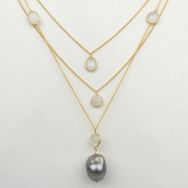 Gold Plated Sterling Silver layered necklace with grey fresh water pearl and moonstones.