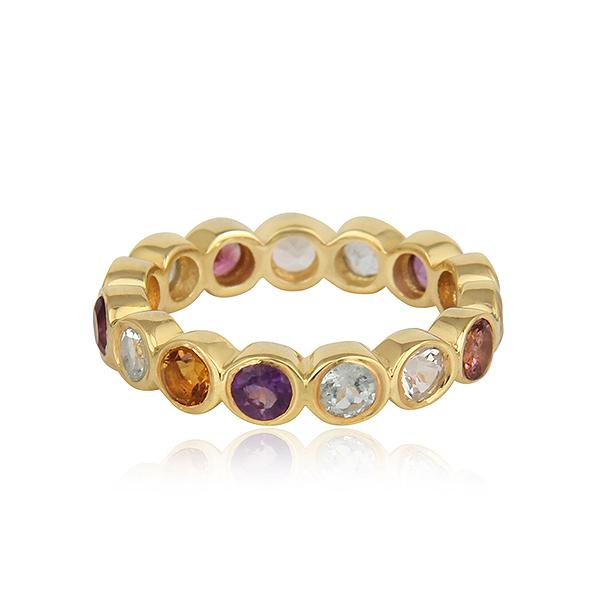 Gold Plated Sterling Silver Multi Gemstone Ring - Barnbury