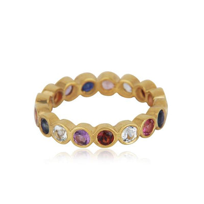 Gold Plated Sterling Silver Multi Colour Ring - Barnbury
