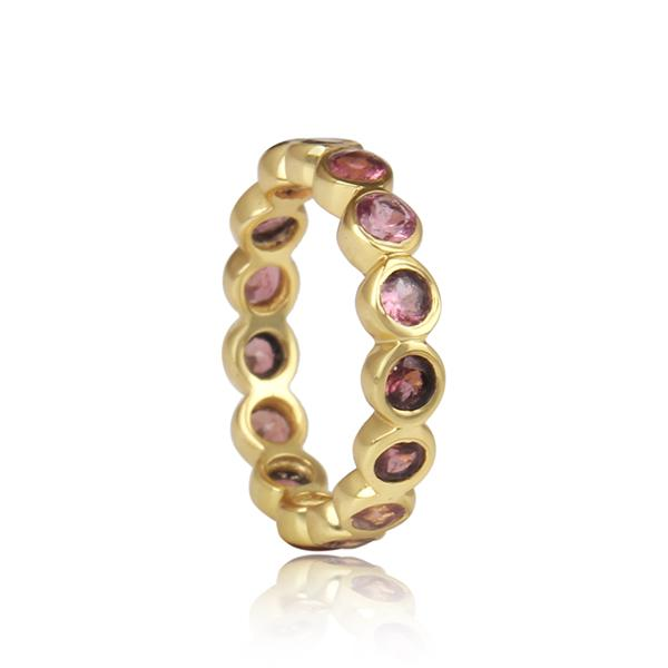 Gold Plated Sterling Silver Pink Tourmaline Ring - Barnbury