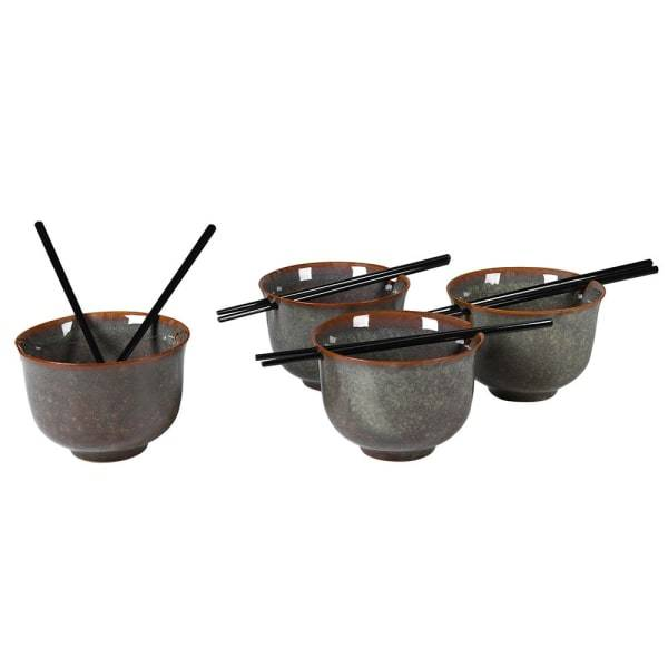 Set of 4 Sapporo Noodle Bowls with Chopsticks - Barnbury