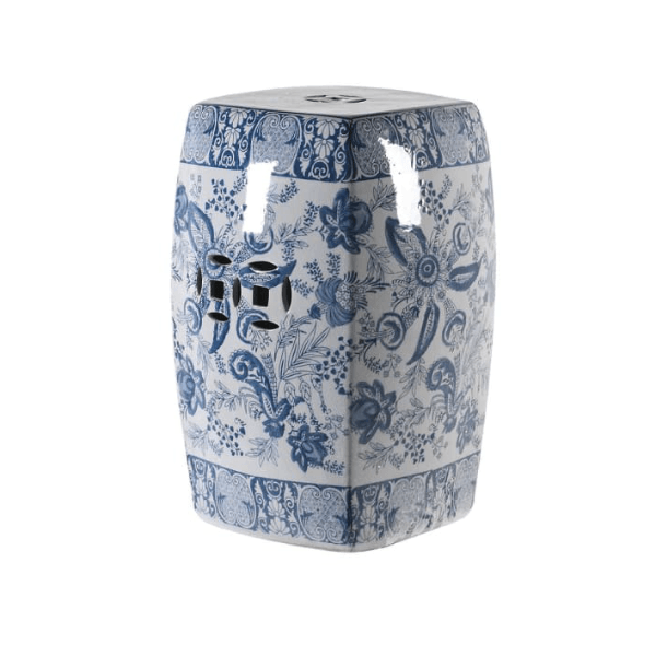 Blue and White Chinoiserie Ceramic Stool - Barnbury