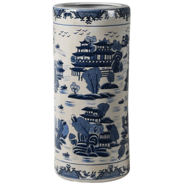 Blue and White Ceramic Umbrella Stand - Barnbury