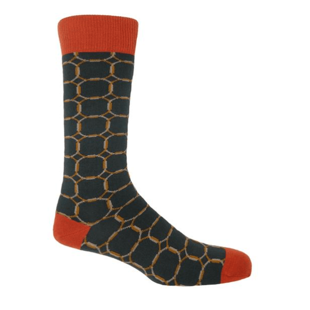 Grey and Orange Linked Socks - Barnbury