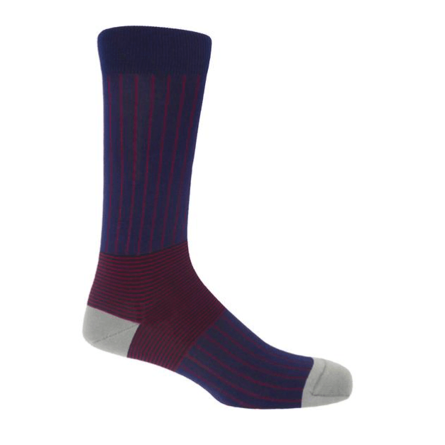 Navy Oxford Stripe Socks - Barnbury