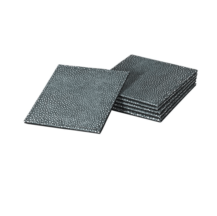 Set of 6 Faux Shagreen Coasters - Barnbury