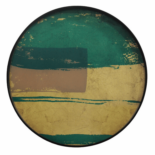 Turquoise and Gold Leaf Abstract Tray - Barnbury