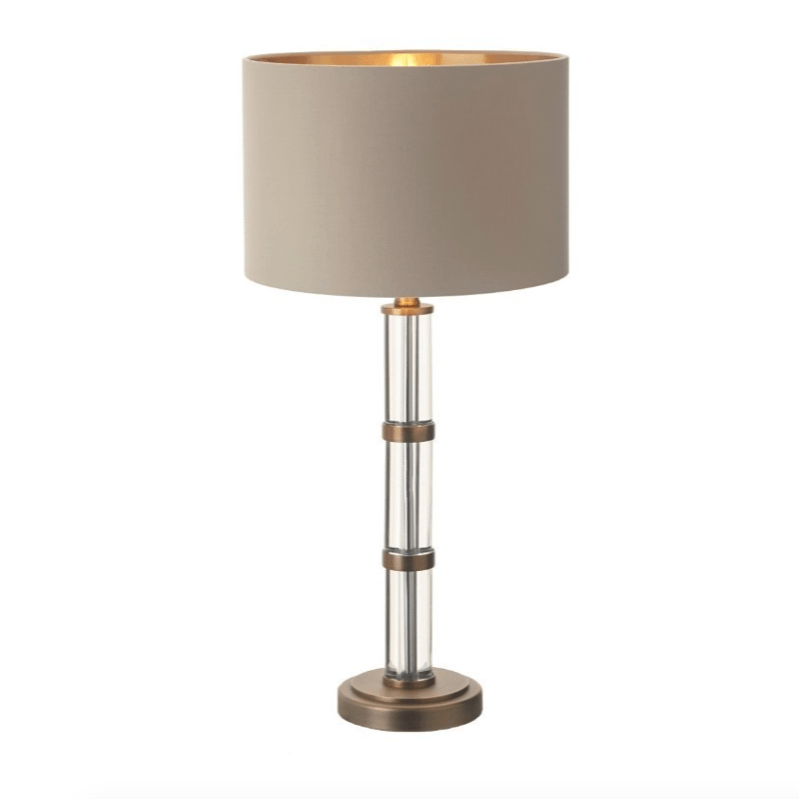 Edward Crystal & Aged Brass Lamp & Shade - Barnbury
