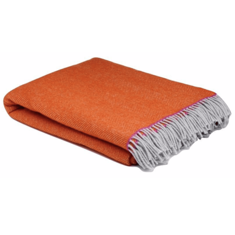 Orange Balmoral Herringbone Wool Throw - Barnbury