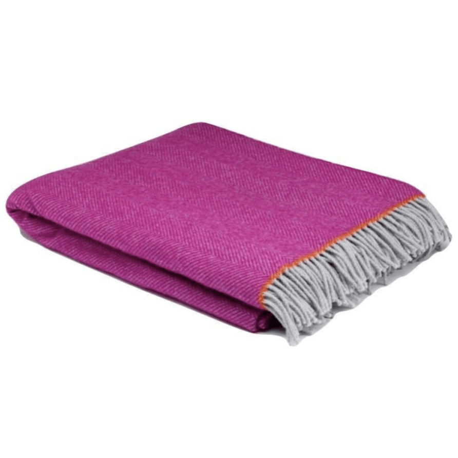 Fuchsia Balmoral Herringbone Wool Throw - Barnbury
