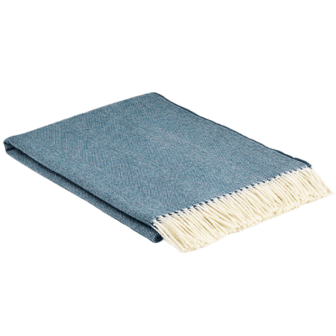 Kingfisher Spotted Super Soft Herringbone Wool Throw - Barnbury