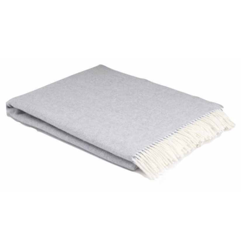 Smoke Super Soft Herringbone Wool Throw - Barnbury