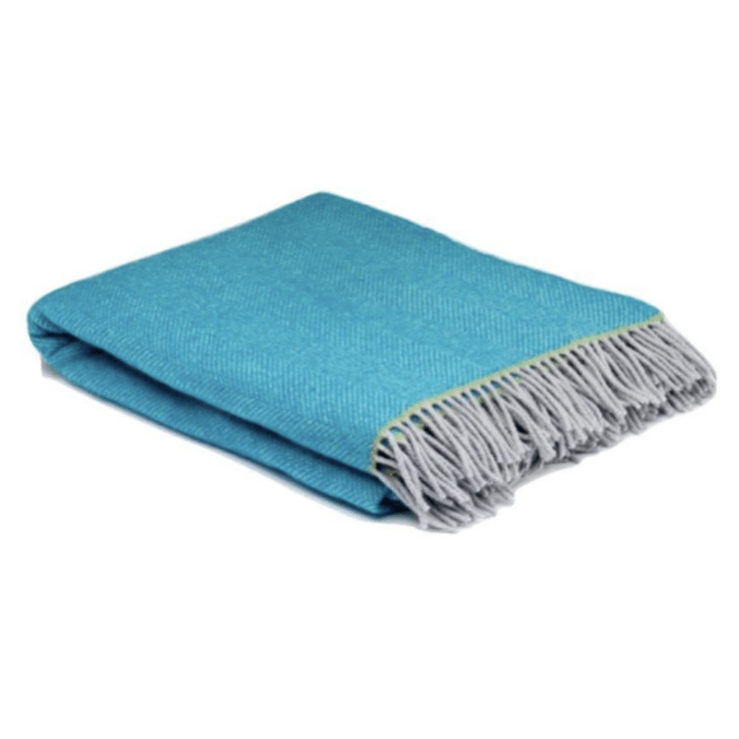 Turquoise Balmoral Herringbone Wool Throw - Barnbury
