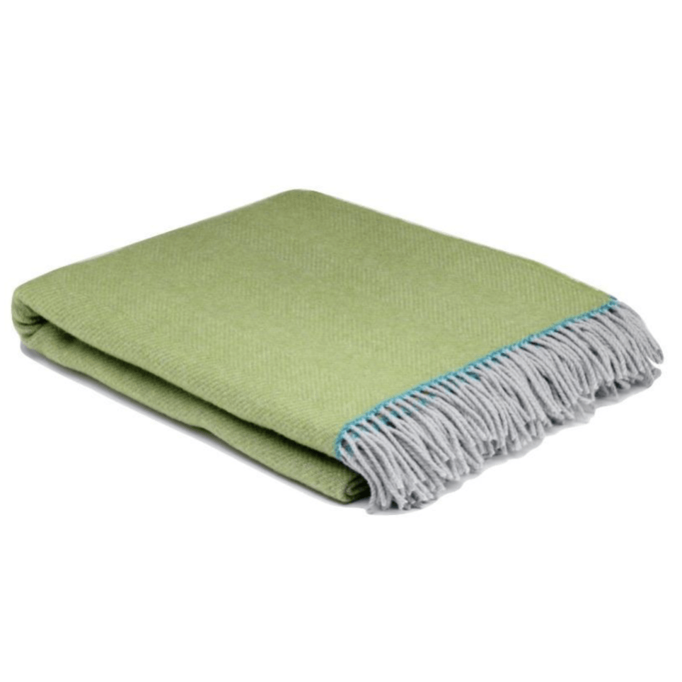 Spring Green Balmoral Herringbone Wool Throw - Barnbury