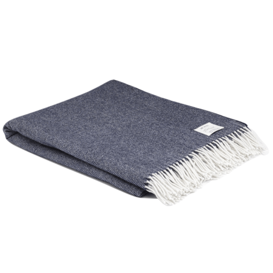Navy Super Soft Herringbone Wool Throw - Barnbury
