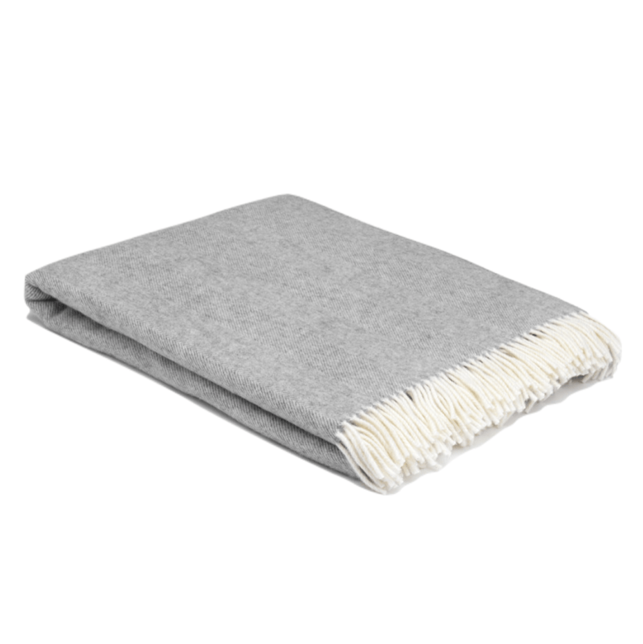 XL Uniform Grey Super Soft Herringbone Wool Throw - Barnbury