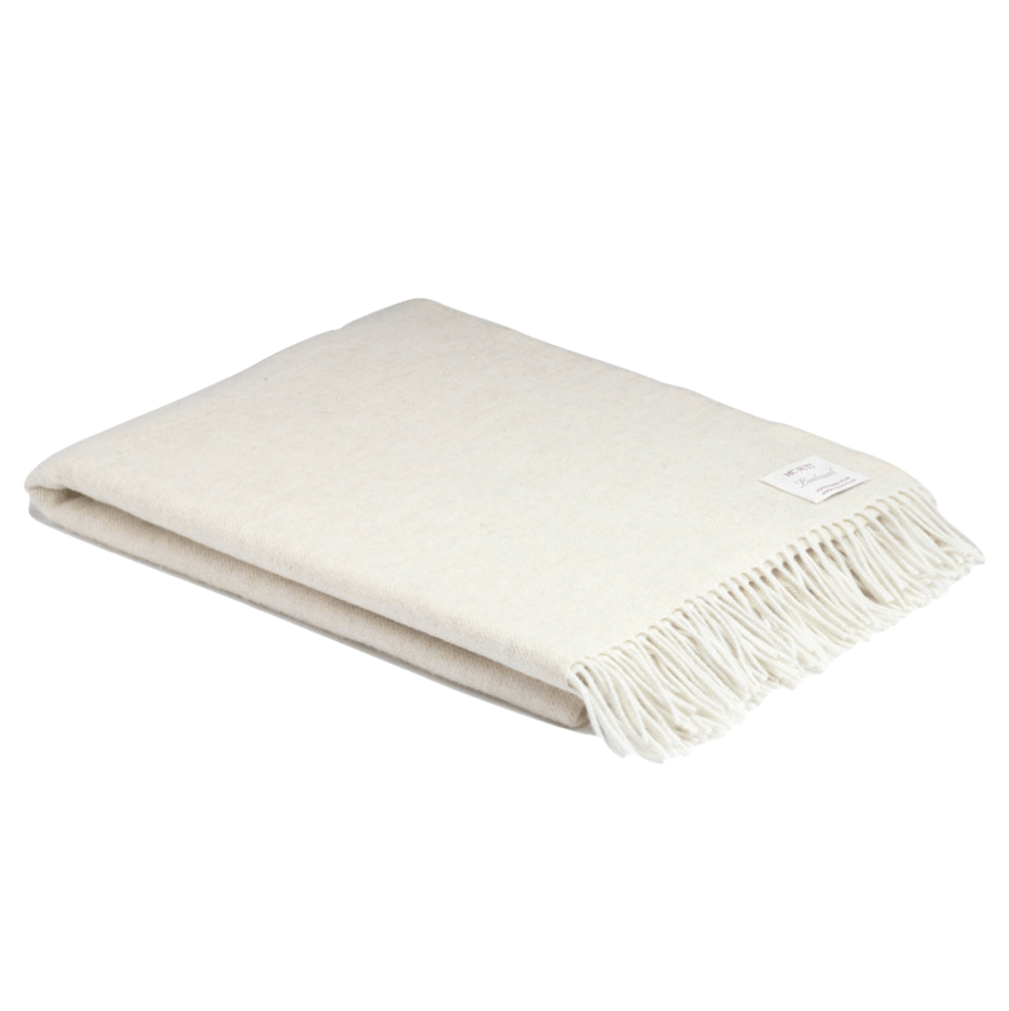 XL Oatmeal Super Soft Herringbone Wool Throw - Barnbury