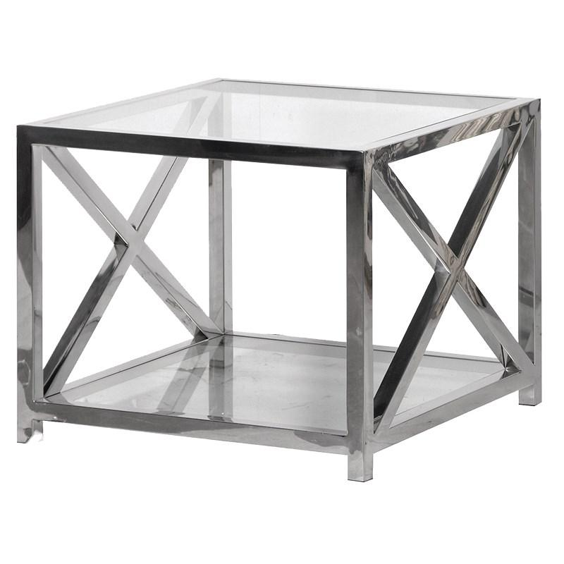 Manhattan Steel & Glass End Table - Barnbury