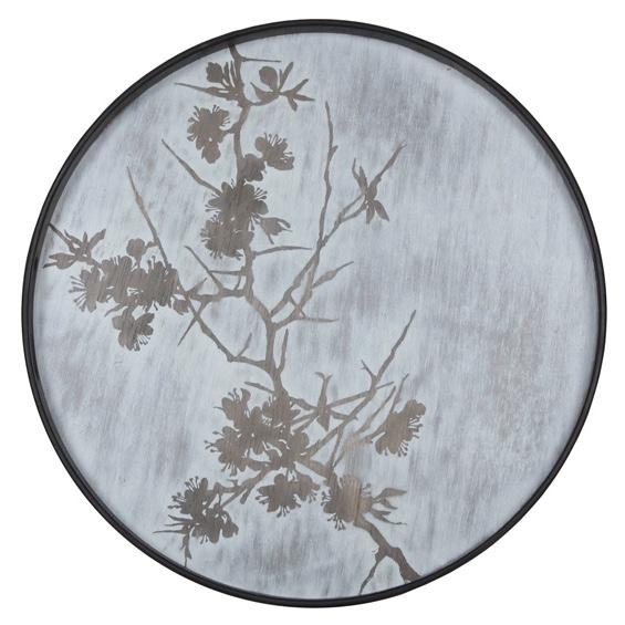 Round Tray with a Whitewashed Finish and Blossom Detail