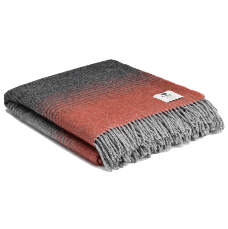 Pure Wool Vail Throw - Orange - Barnbury