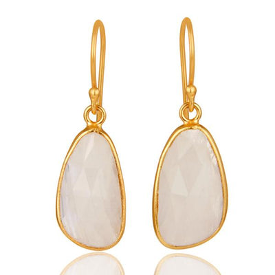 Gold plated sterling silver Moonstone droplet earrings - Barnbury