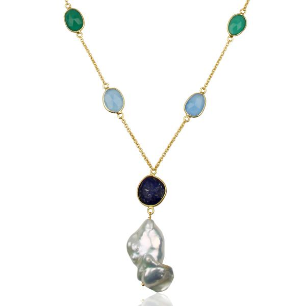 Gold Plated Sterling Silver multi gemstone and fresh water pearl necklace - Barnbury