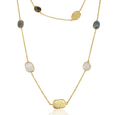 Gold Plated Sterling Silver Moonstone, Labradorite and Gold Opera Necklace - Barnbury