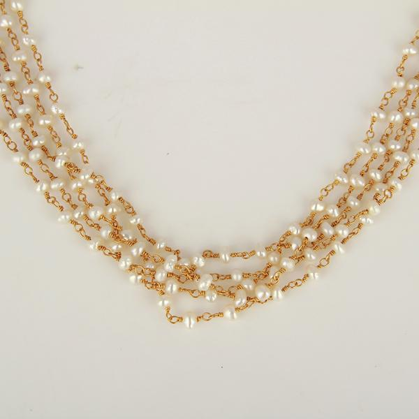 Gold Plated Sterling Silver Multi Natural Pearl Fine Strand Necklace - Barnbury
