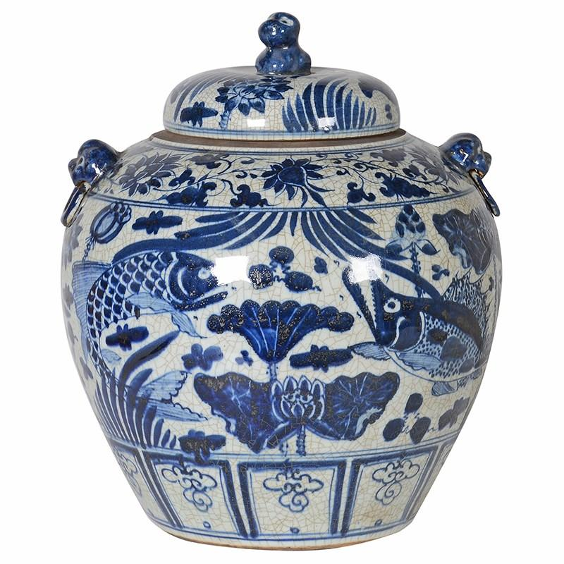 Aged Blue and White Oriental Jar With Lid - Barnbury