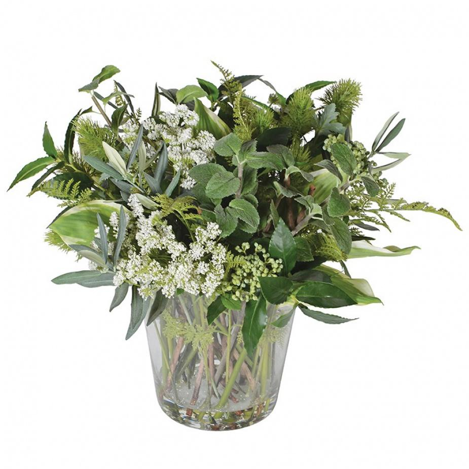 Faux Cut Mixed Green Foliage in Glass Vase