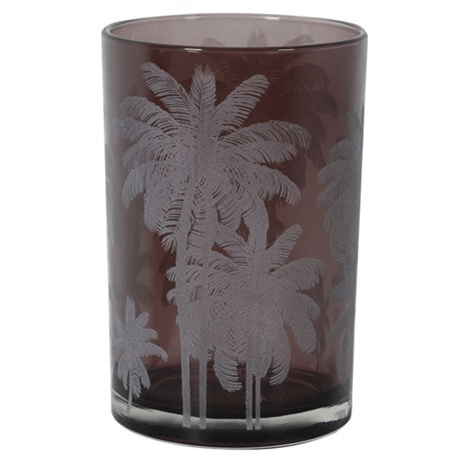 Large Mustique Etched Plum Glass Candle Holder - Barnbury