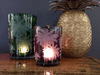 Small Mustique Etched Plum Glass Candle Holder - Barnbury