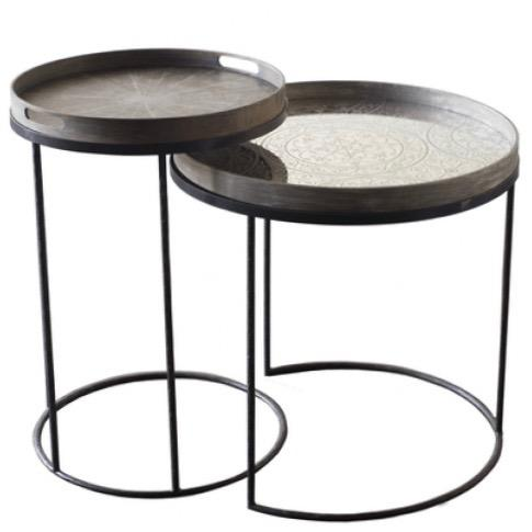 Set of 2 Round Nesting Tray Tables - Barnbury
