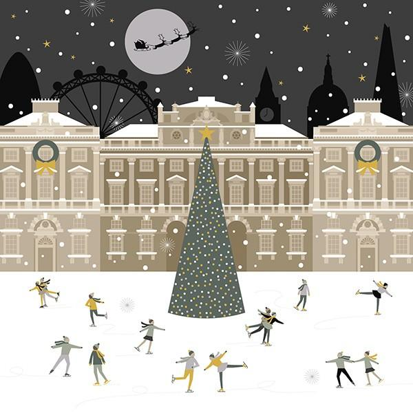 8 Luxury Boxed Christmas Cards - London Ice Skaters