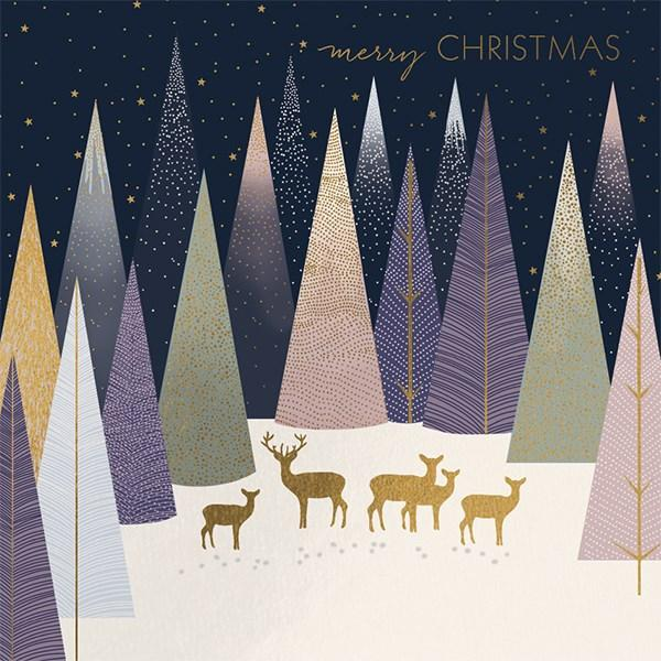 8 Luxury Boxed Christmas Cards - Gold Deer Forest