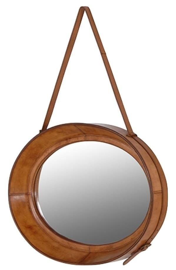 Marlborough Oval Leather Mirror - Barnbury