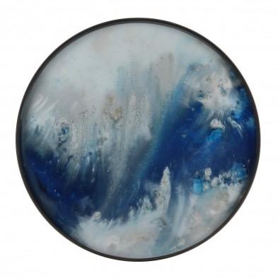 Round Tray with Blue Mist Organic Detail