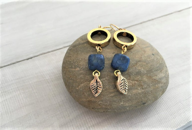 Leaf & Lapis Stone Earrings- Silver & Gold 1